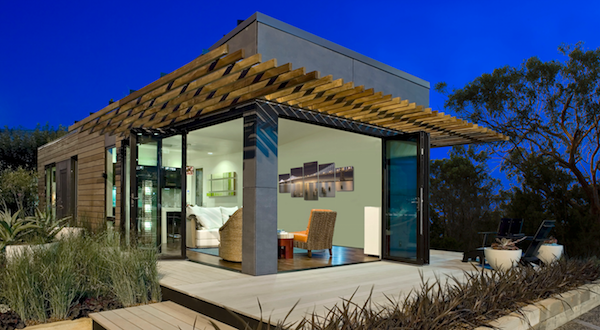 Front facade of the Mini Lotus tiny house by Blu Homes, in Vallejo, Calif.