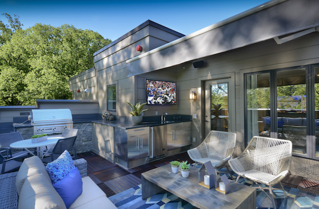 Tricked out roof terrace at The Brownstones at Chevy Chase Lake