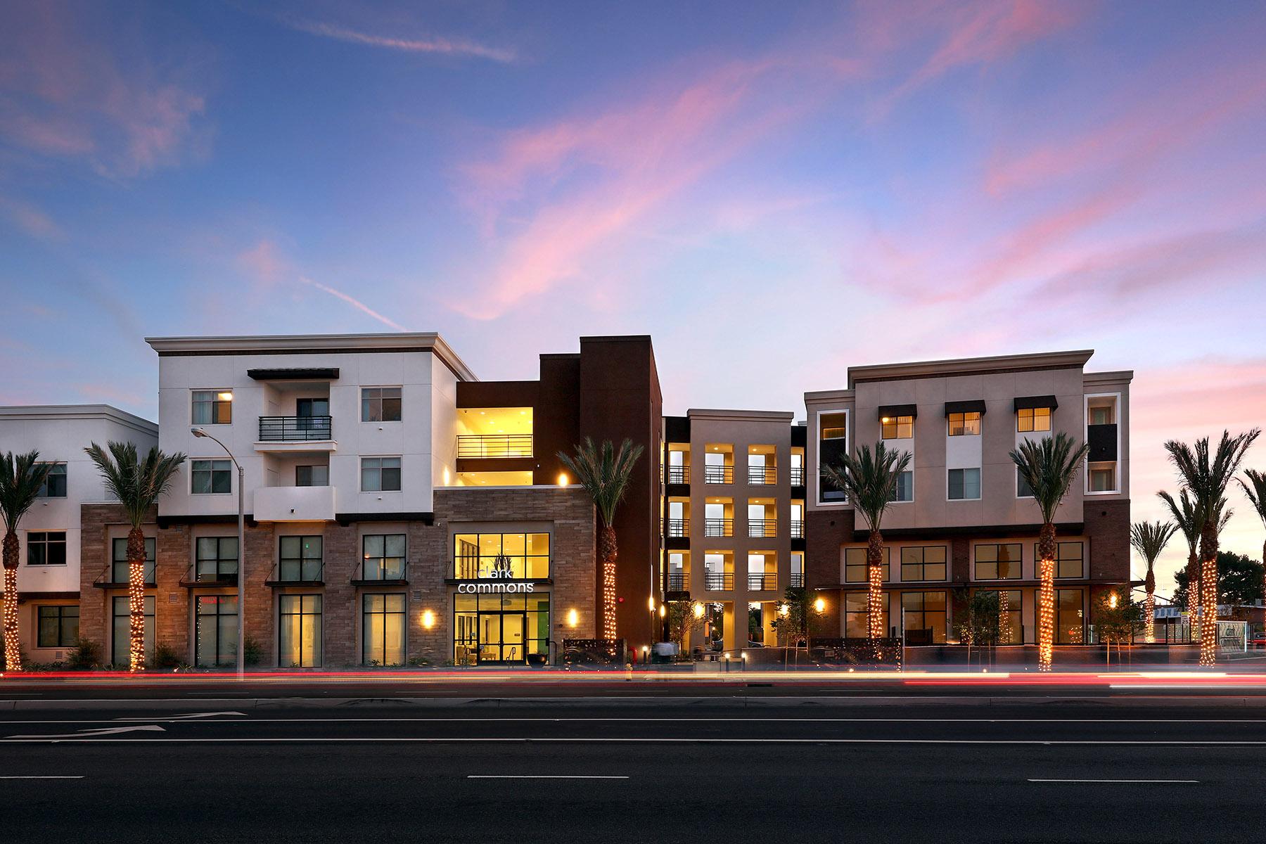 Clark Commons, street view, dusk, affordable/workforce housing (Photo: Jamboree by Juantallo.com)