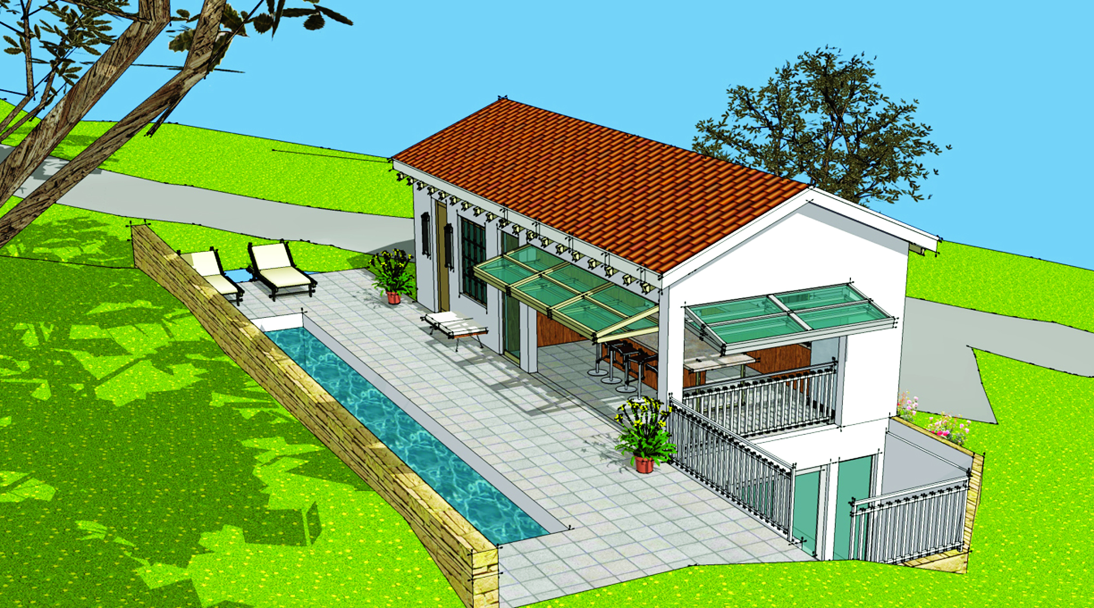 House review pool houses cabanas professional builder for Pool houses and cabanas