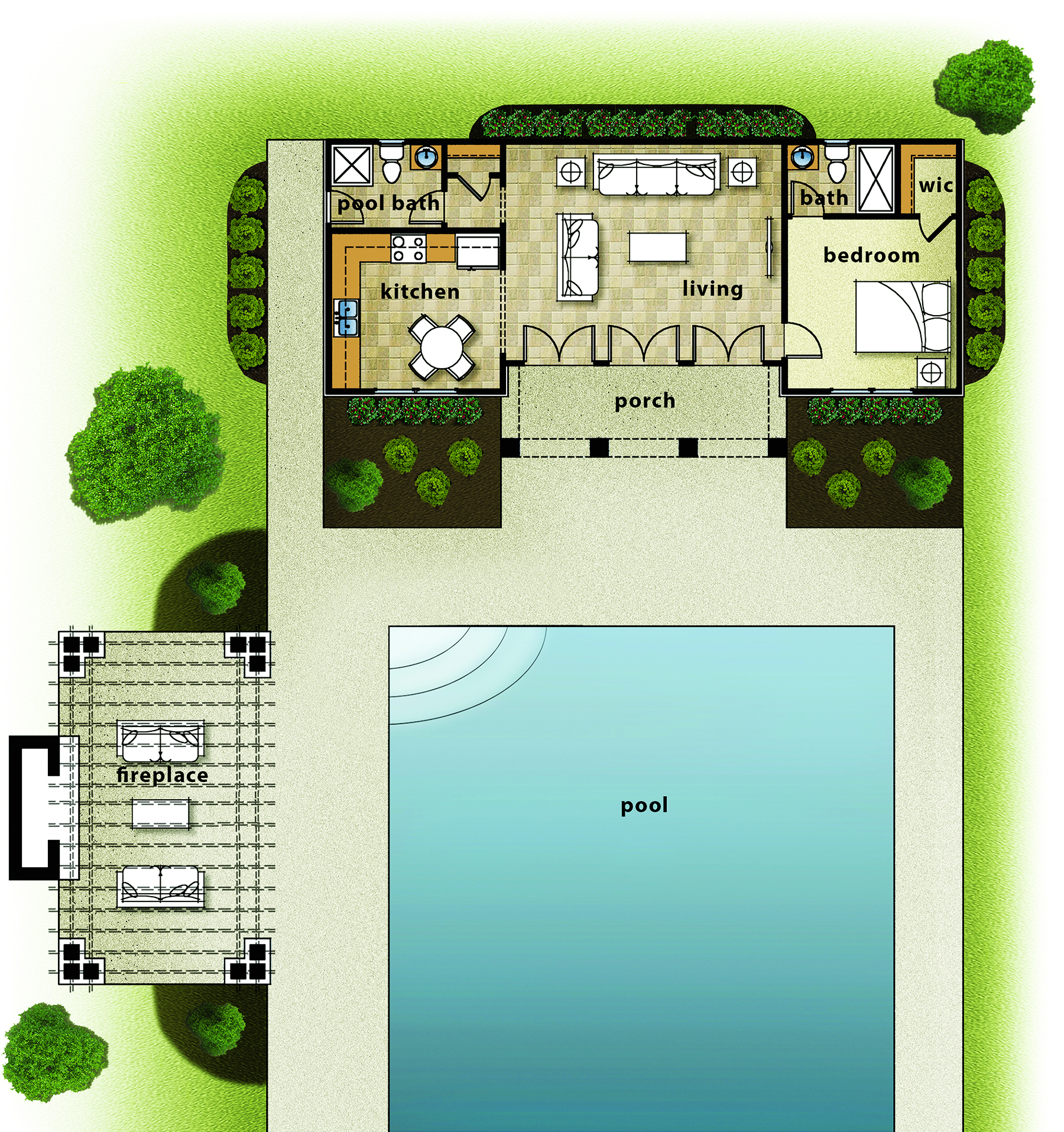 pool house plans with bedroom house review pool houses amp cabanas professional builder 25491