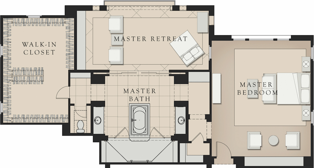 large master bathroom plans. the 235-square-foot master bath features dual floating vanities, a spacious spa tub, and an oversize shower surrounded by frameless glass large bathroom plans