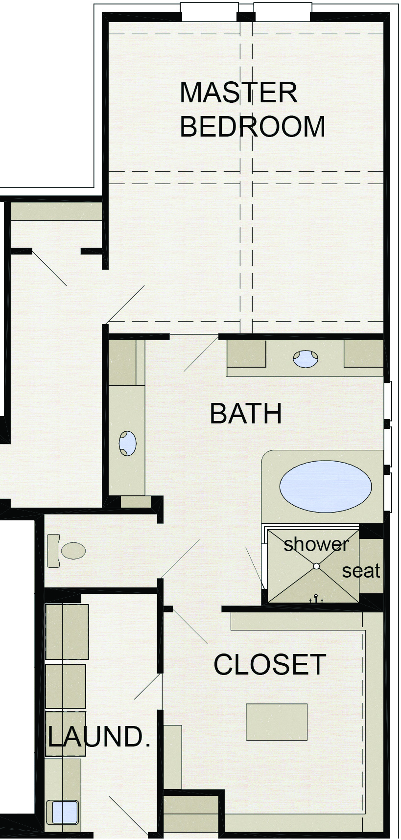 1 dual lavatories and linen storage 2 glass enclosed 60 by 48 inch shower with seat 3 spacious walk in closet 4 convenient access to laundry room