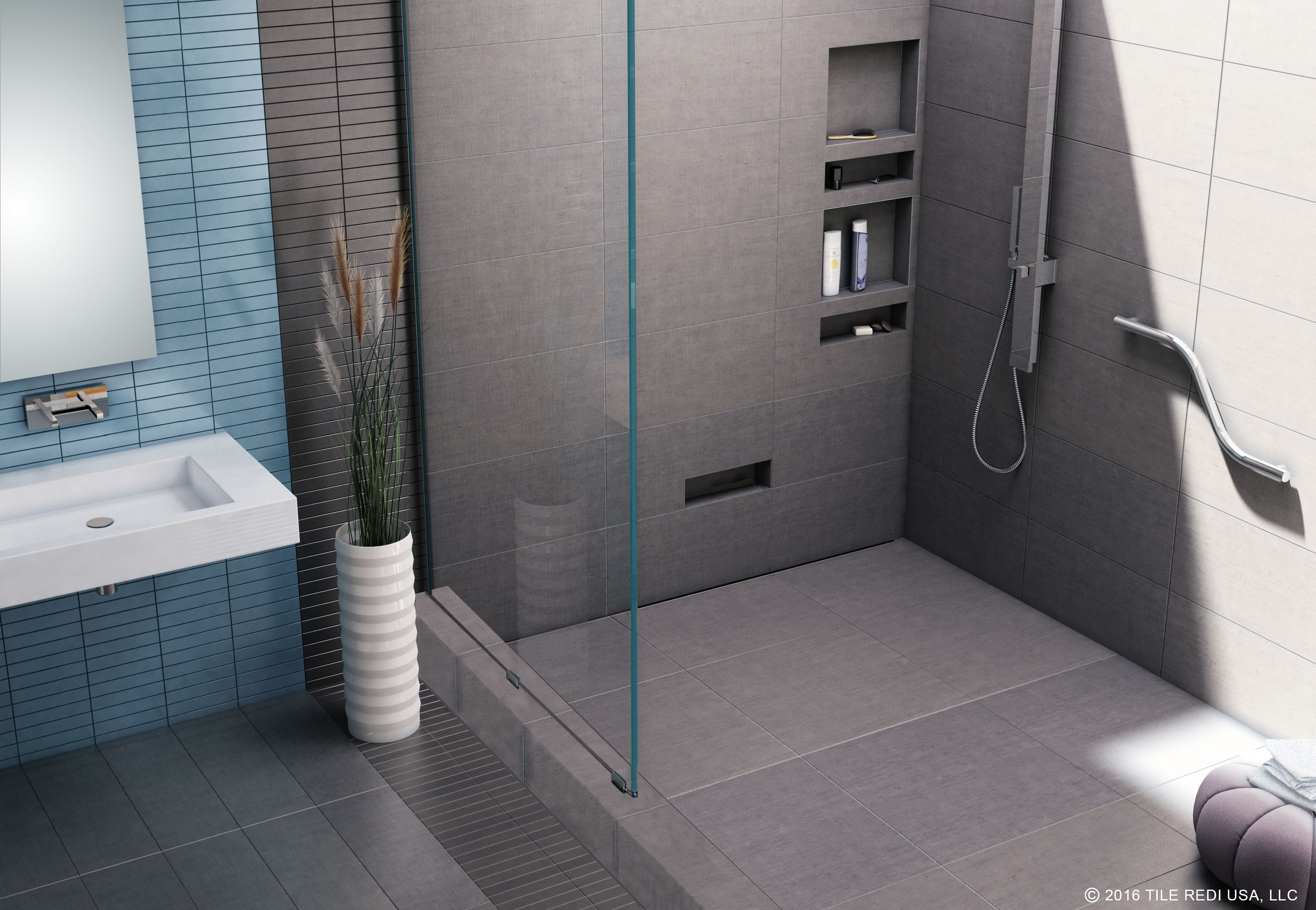 Tile Redi Introduces The WonderFall Trench, The Only One Piece Ready To Tile  Shower Pan On The Market With An Integrated Linear Trench That Includes An  ...