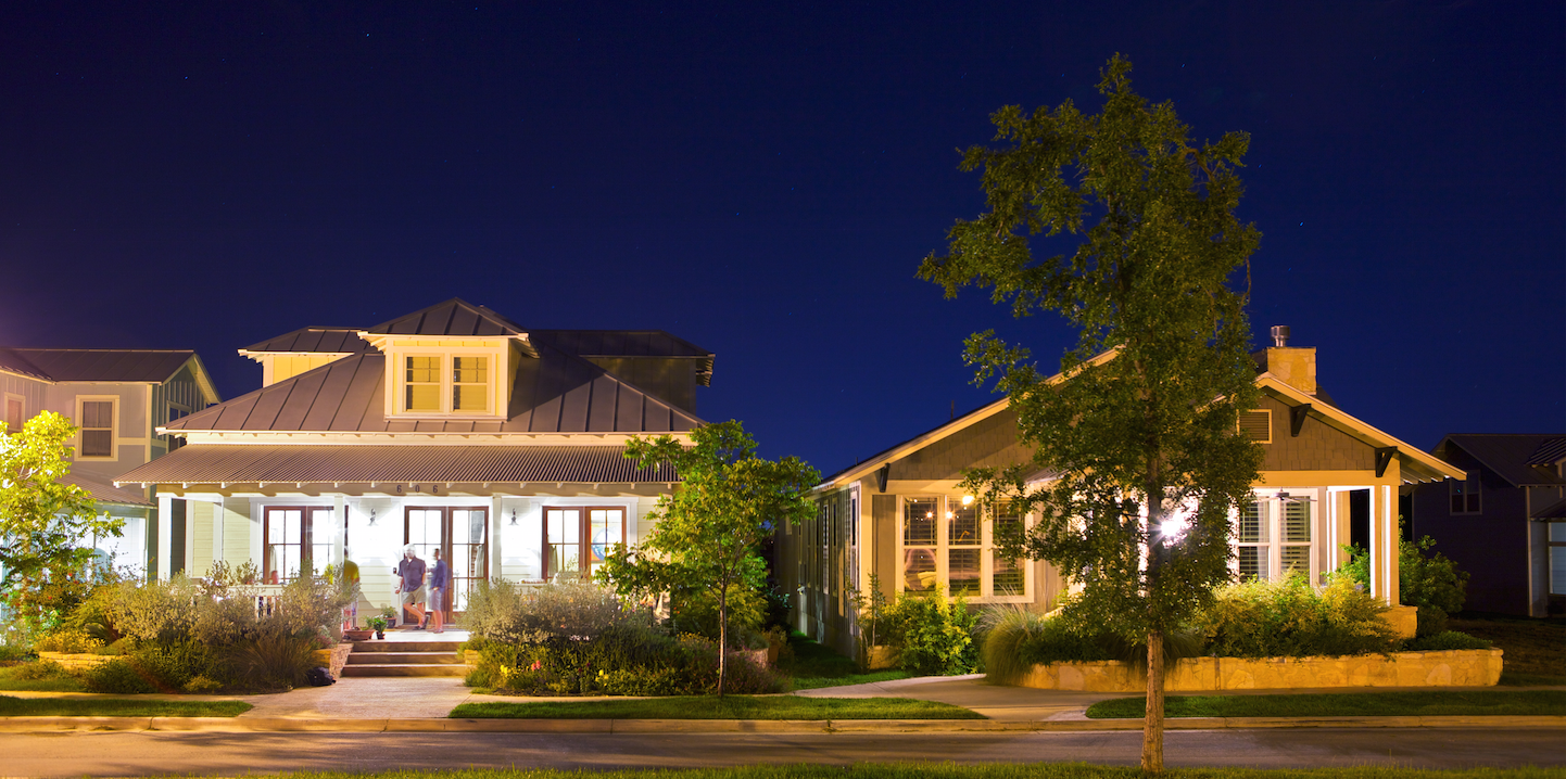 Town Creek, Braunfels, Texas, evening view of single-family houses.