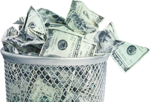 Trash can of money-lost revenue from process inefficiencies-photo