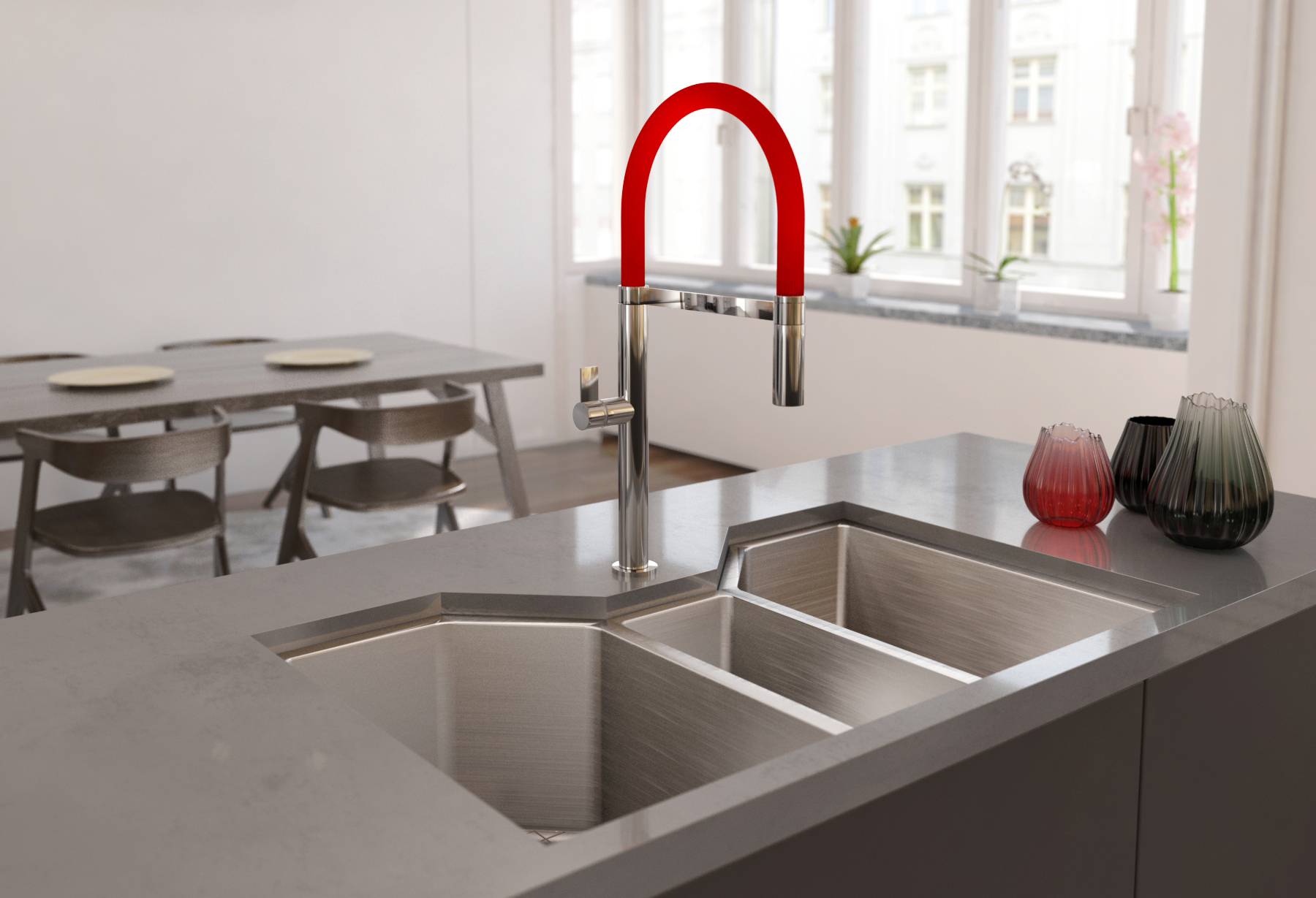 Restaurant Style Kitchen Faucet, Red, Photo Courtesy Ruvati