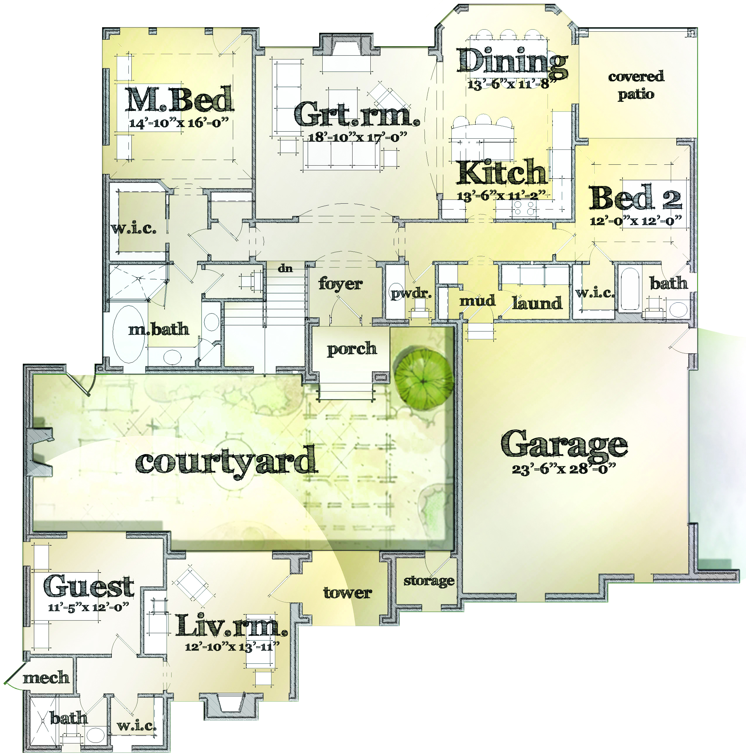 100 houses with big garages mudroom plans with pantry and for Tuscan home plans with casitas