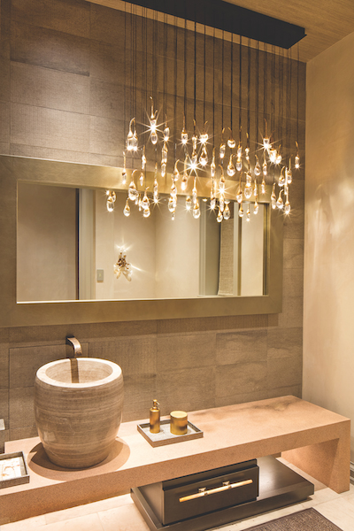 Powder room, lighting by Robert Singer and Associates