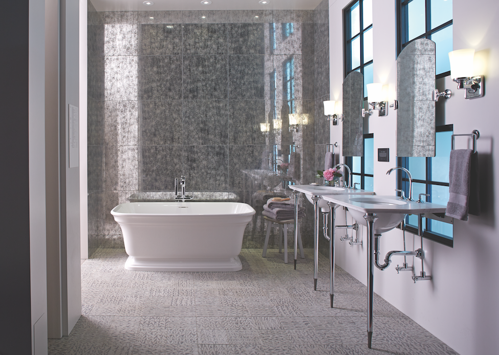On-trend bath in cool neutrals by Kohler