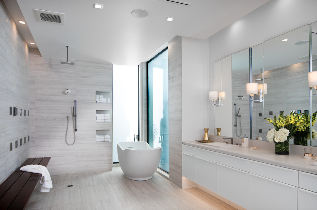 The Master Bath Is An Airy Open Wet Room With A Separate Water Closet