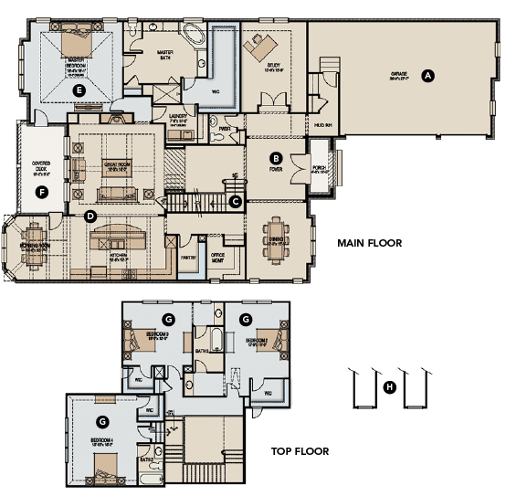 House Review-GMD Design Group-The Oxley-main floor and top floor plans