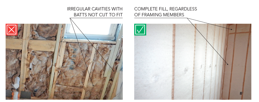 Odd-sized cavities, improperly and properly filled with insulation