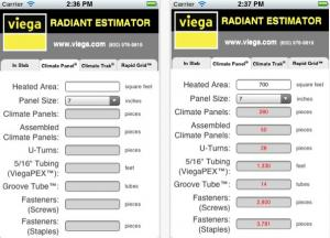 The Viega Radiant Estimator App provides the material quantities you need to cor