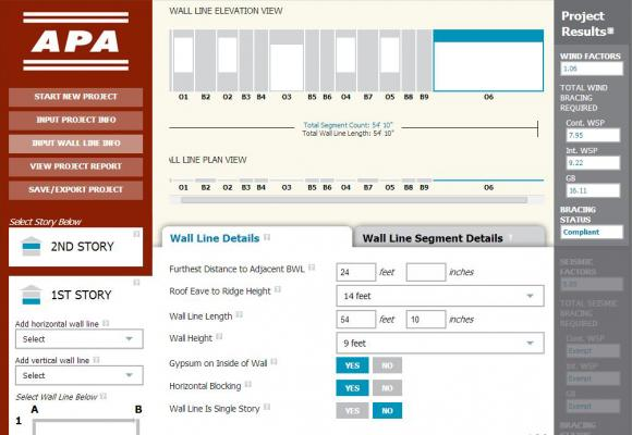 APA – The Engineered Wood Association's online Wall Line Bracing Calculator eases wall   bracing by streamlining the process.