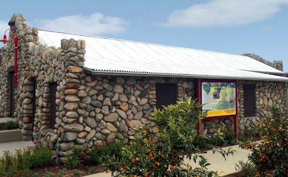 The historic barn and pumphouse on the Citrus Glen site, renovated.