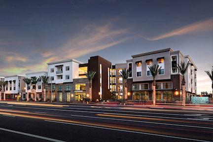 Clark Commons street elevation dusk