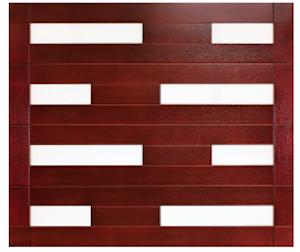 Clopay's contemporary garage door offerings include bold geometric designs such as this custom wood garage door.