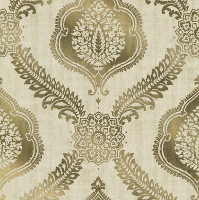 Zoraya Gold Damask wallcovering from Brewster Home Fashions' Alhambra Collection