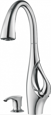 The Pfister Indira faucet, showing its integrated handle.