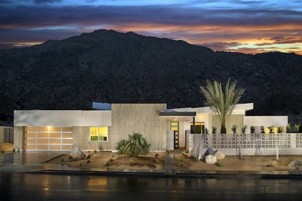 Exterior shot of Skye Palm Springs Plan 1 mid century modern