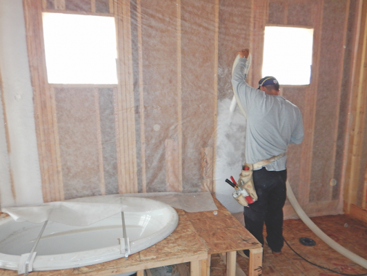 For better r values blow in the insulation professional builder installing blown in fiberglass insulation the case for blown in fiberglass rests on energy ratings photo courtesy ibacos solutioingenieria Gallery