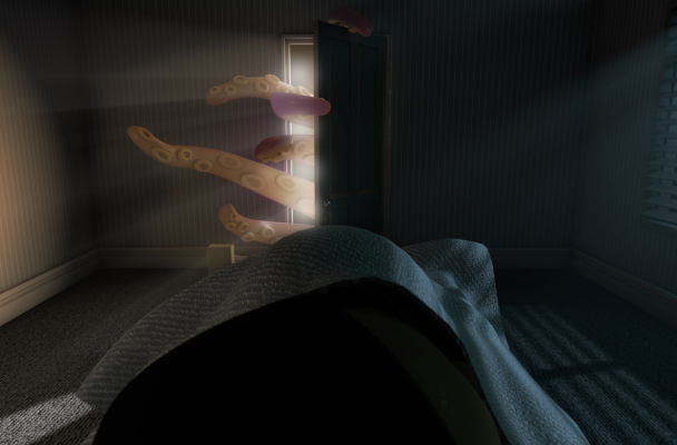 Octopus, sleeping figure in bed, Illustration: Allan Swart / 123RF