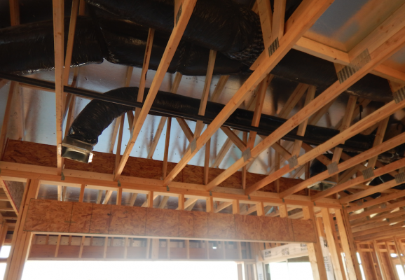 Ductwork, house under construction