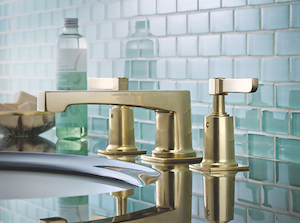 Watermark Designs H-Line Collection of faucets offers a mix of modern and luxury.