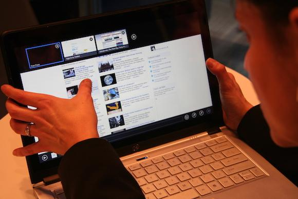 Open laptop awaits consumers using it to search online for information about builders.