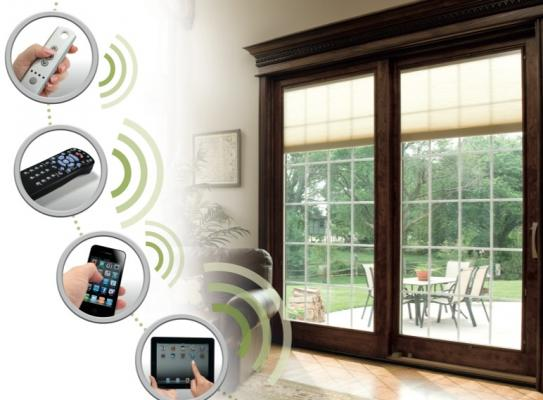 Pella's SmartSync technology allows shades or blinds to be controlled by a remot
