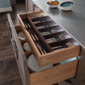 Kitchen drawers with dividers, photo courtesy Wood-Mode