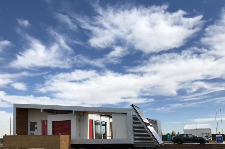 Sinatra Living from the University of Nevada, Las Vegas, team has a solar system for radiant heat and hot water linked to a Tesla Powerwall. The 965-square-foot home combines elegant design and energy smarts.