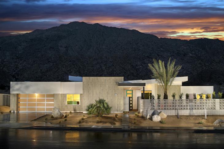 Exterior shot of Skye Palm Springs Plan 1 mid century modern