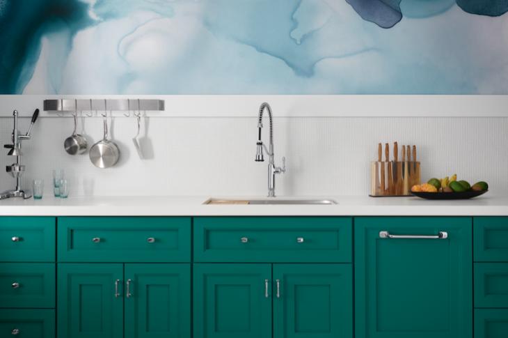 Green kitchen cabinets, modern faucet, Image: Courtesy Kohler