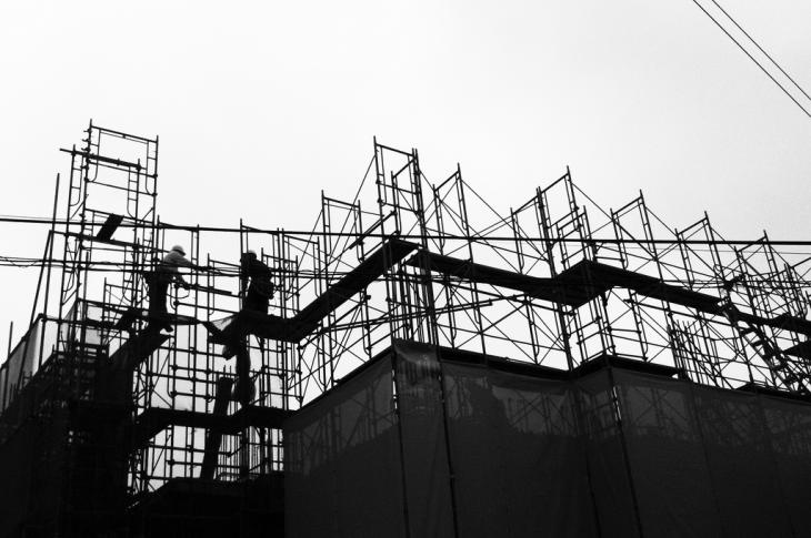 Scaffolding around a home construction site