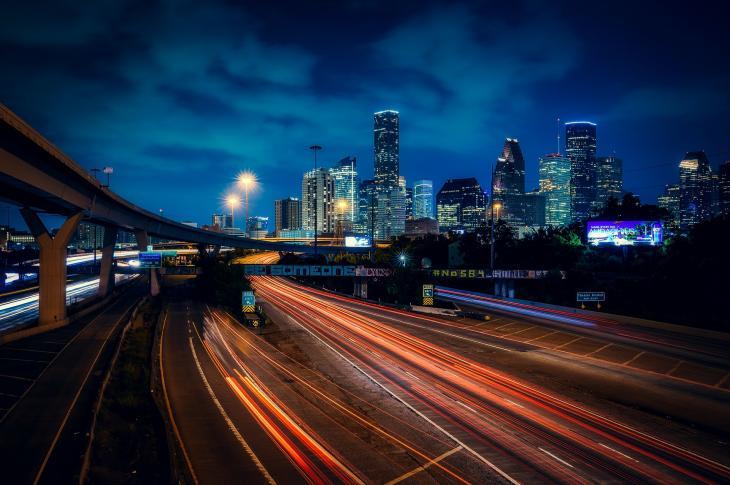 Houston skyline at night, image via Pixabay