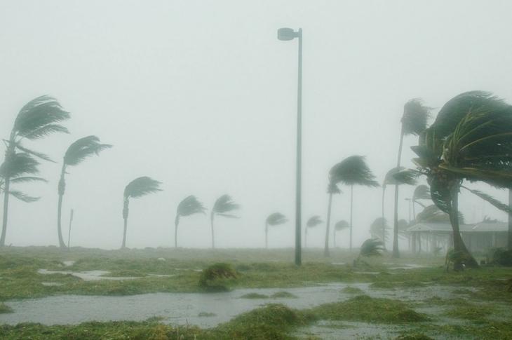 Hurricane striking the Florida Keys