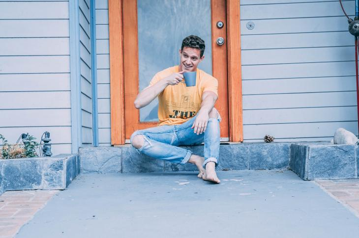Man sitting on stoop