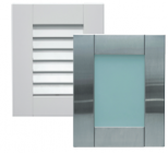 Two examples of Danver Stainless Outdoor Kitchens' new line of cabinet door styles: louvered and green glass insert.