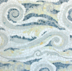 The Tempest Sea Glass mosaic in New Ravenna's Sea Glass Collection depicts rolling, wave-like forms.