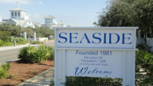 Welcome sign to the community of Seaside, in Florida.